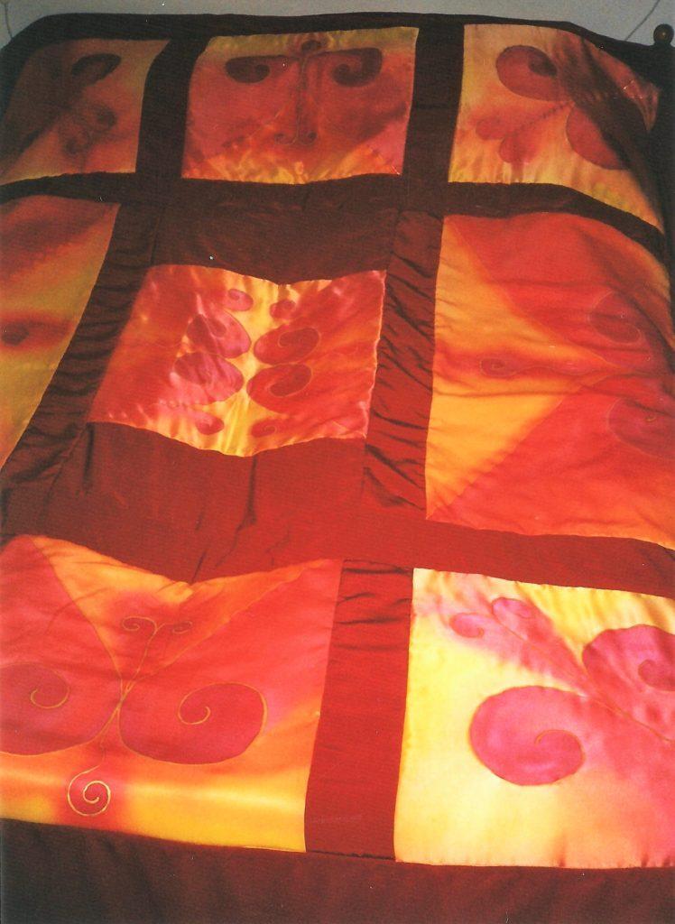 Kézzel festett selyem ágytakaró