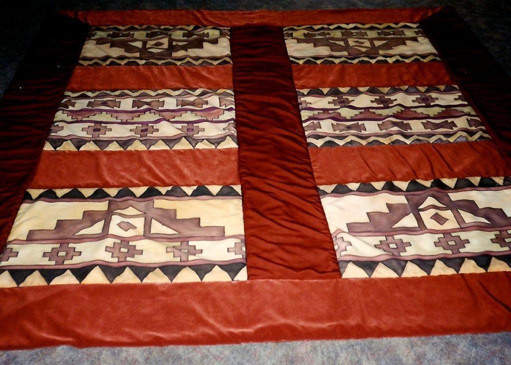 kézzel festett egyedi selyem ágytakaró