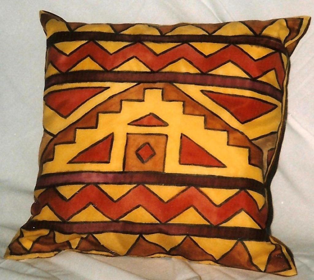 kézzel festett selyem párna, mexikói mintával