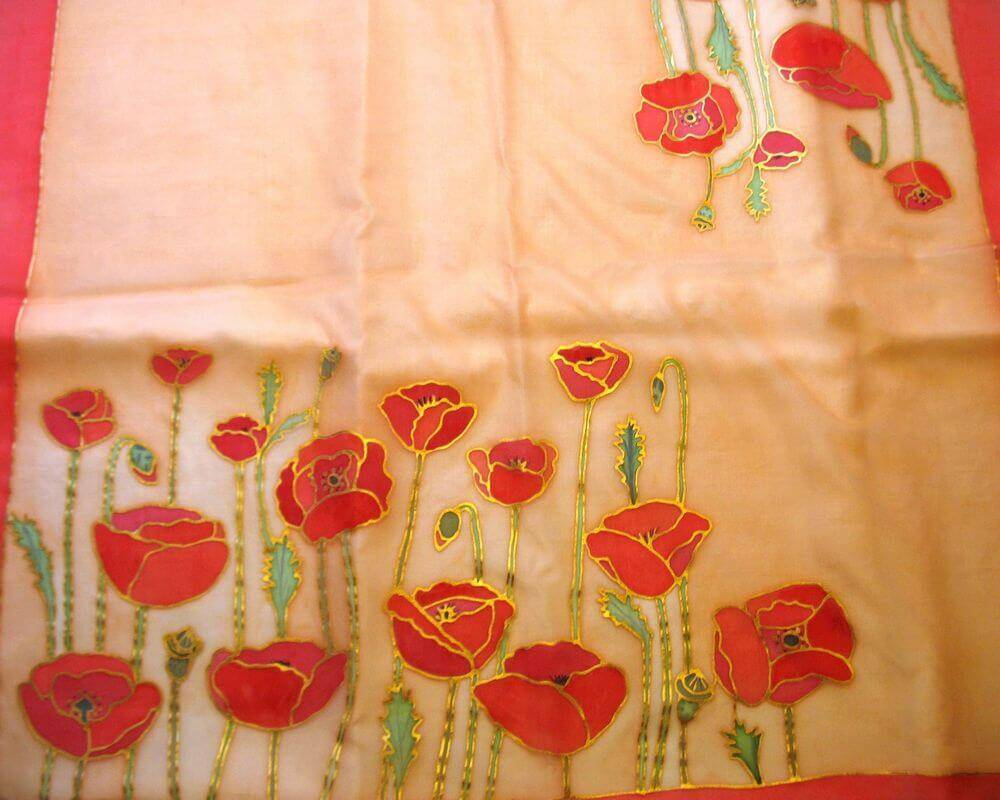 pipacsos selyemkendő