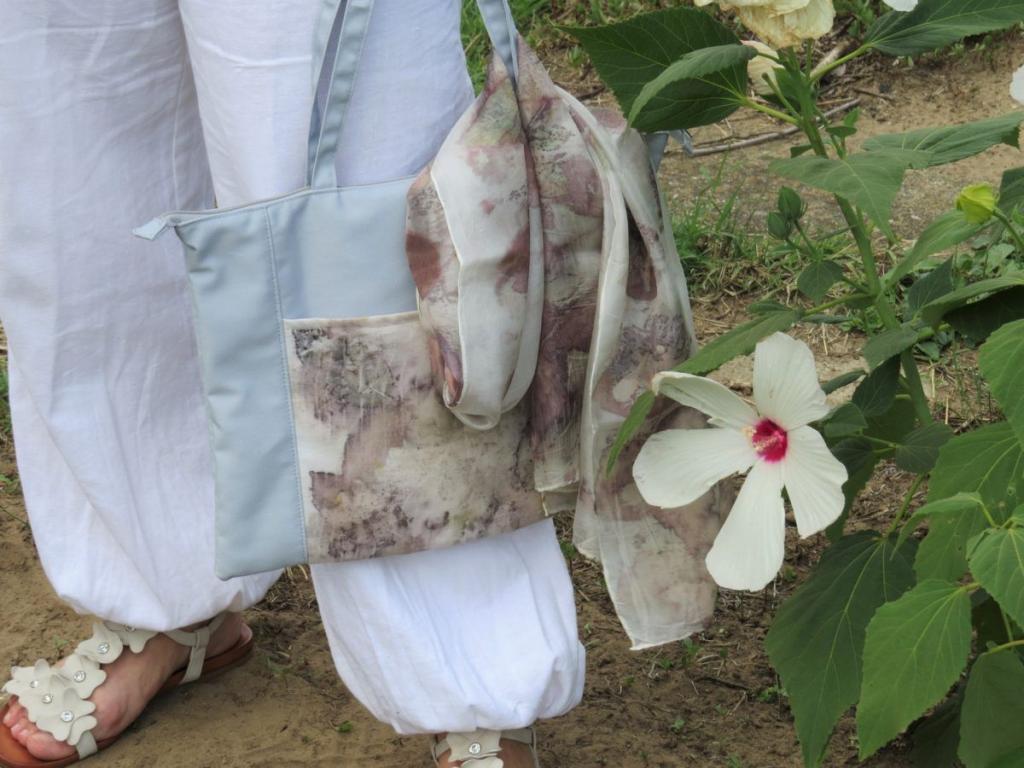 ecoprint vászontáska és selyemsál