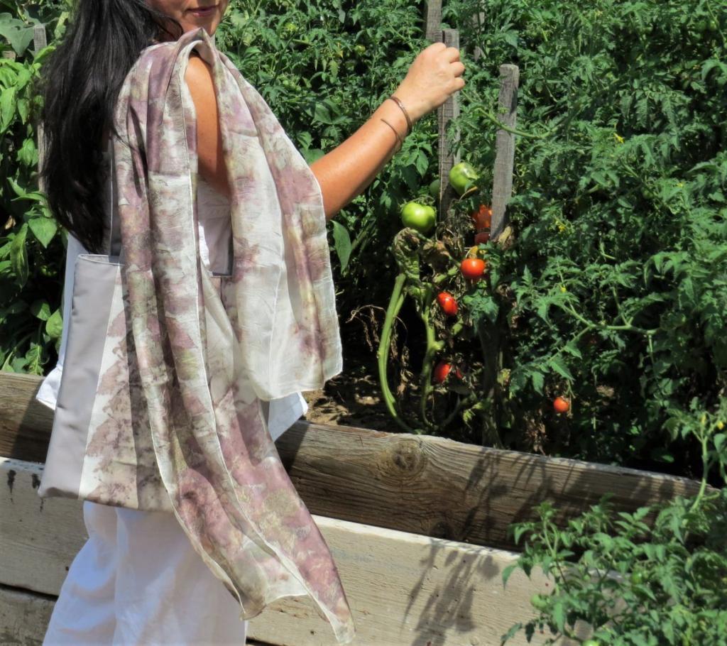 ecoprint selyemsál és vászontáska a paradicsomokkal