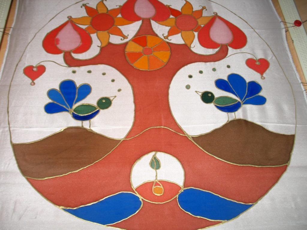 Madárkás életfa, selyemre festve
