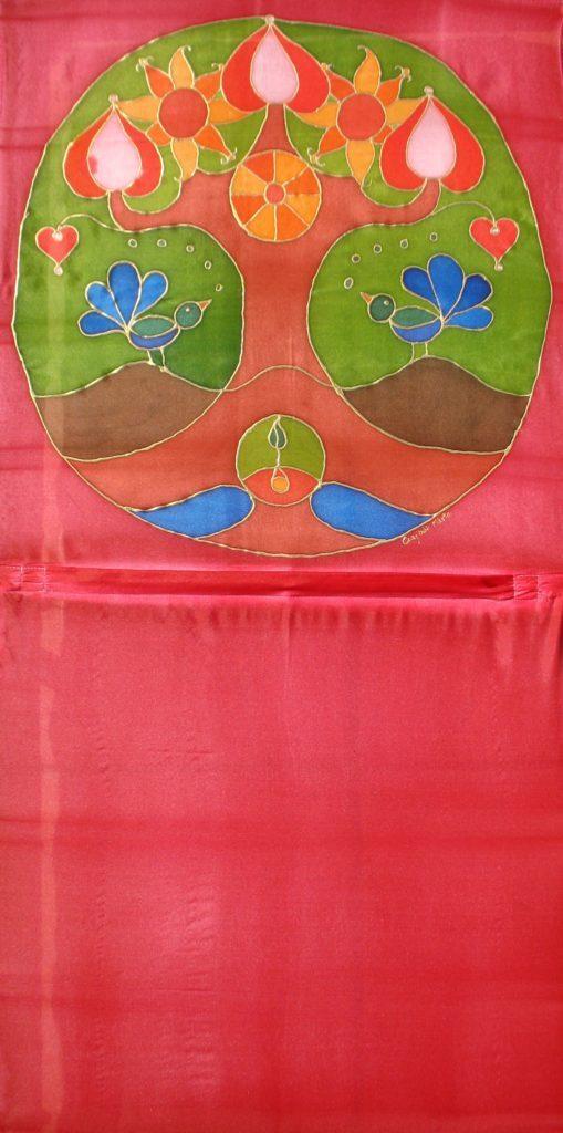 Madárkás életfa selyemre festve