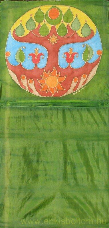 Levélmotívumos életfa selyemre festve