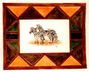 akvarell festés, zebrák