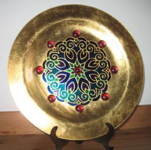 Kék-vörös-arany mandalás tál