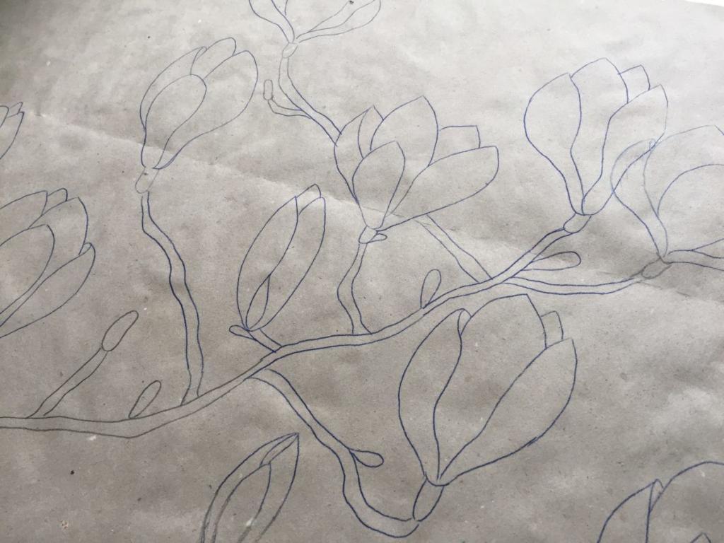 Magnólia ág rajz selyemsálhoz, Csajbók Márta