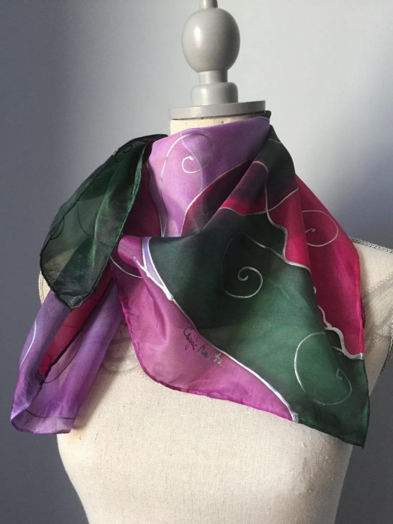 Velencei karnevál ihlette kézzel festett selyemkendő