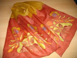 Népi motívumos kézzel festett selyemsál