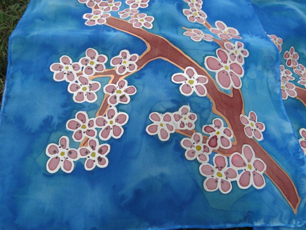 Tavaszi ág selyemre festve