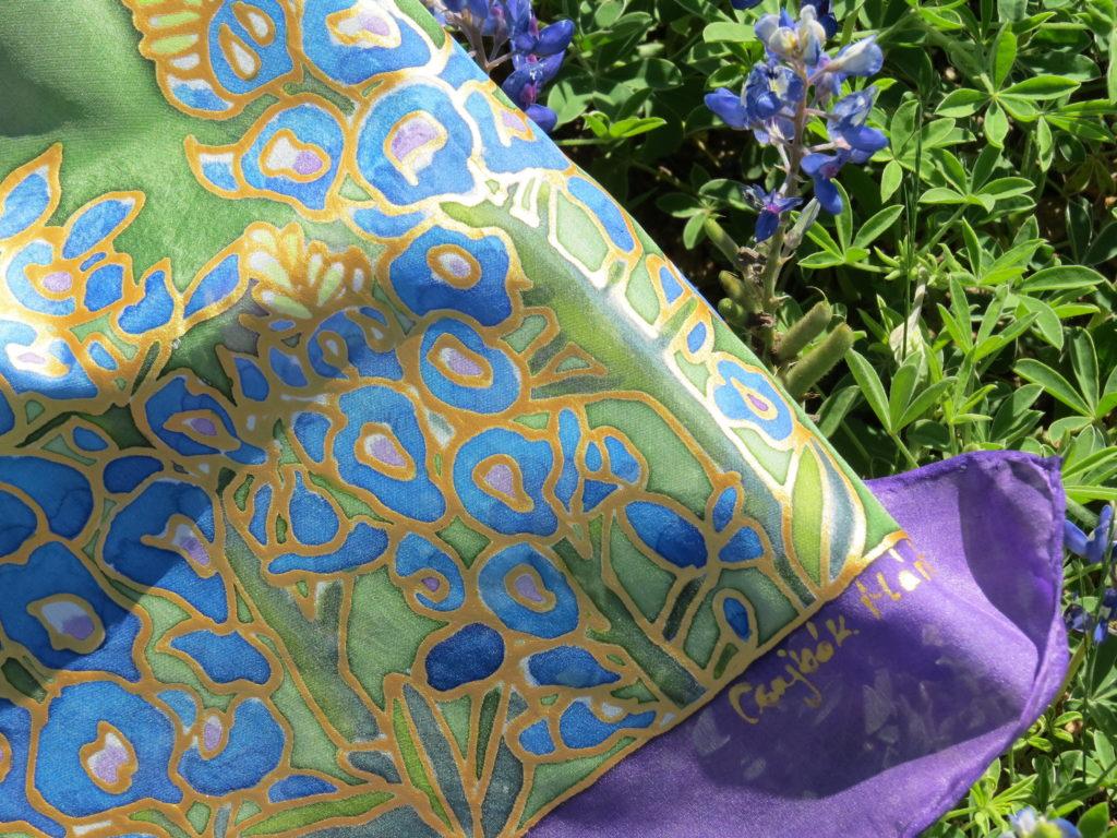 Kézzel festett selyemsál, bluebonnet