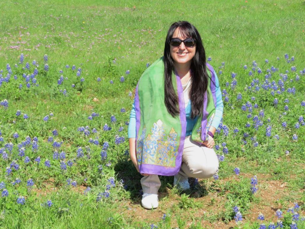Bluebonnet mezőn selyemsállal