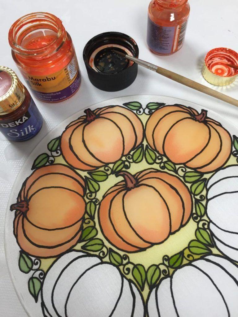 Őszi dekoráció selyemre
