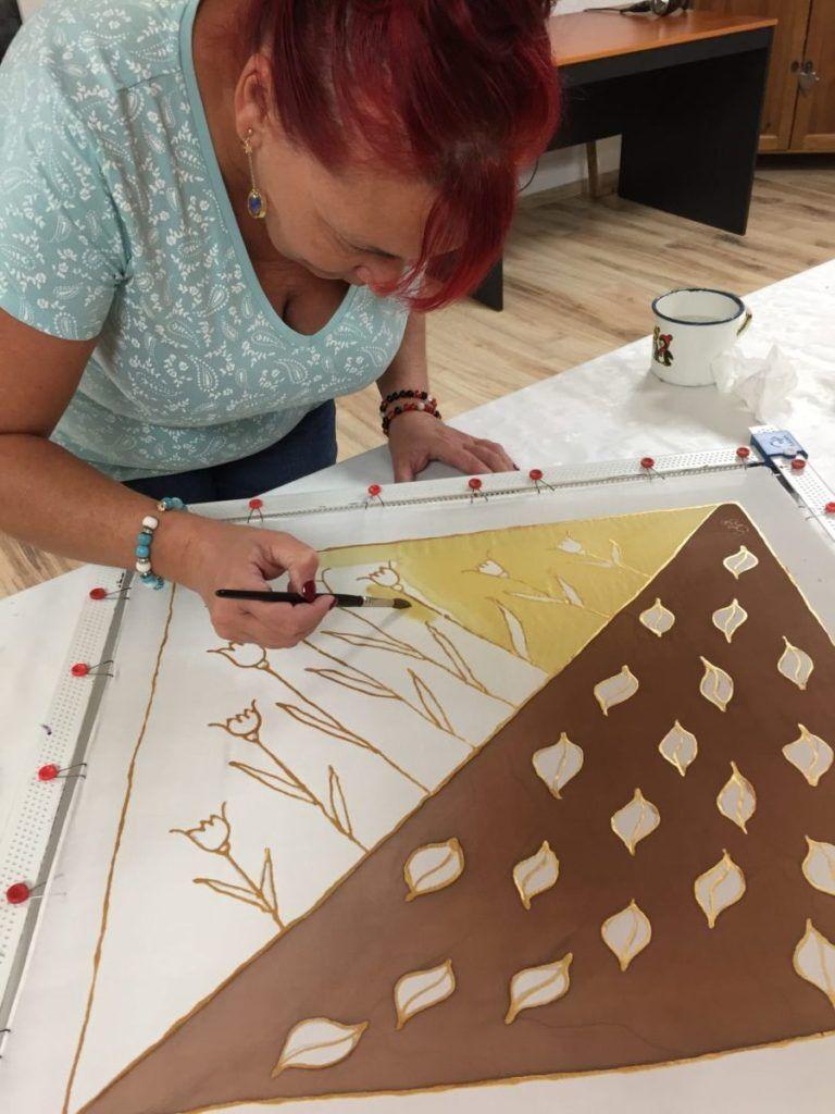 Selyemkendő festés workshop