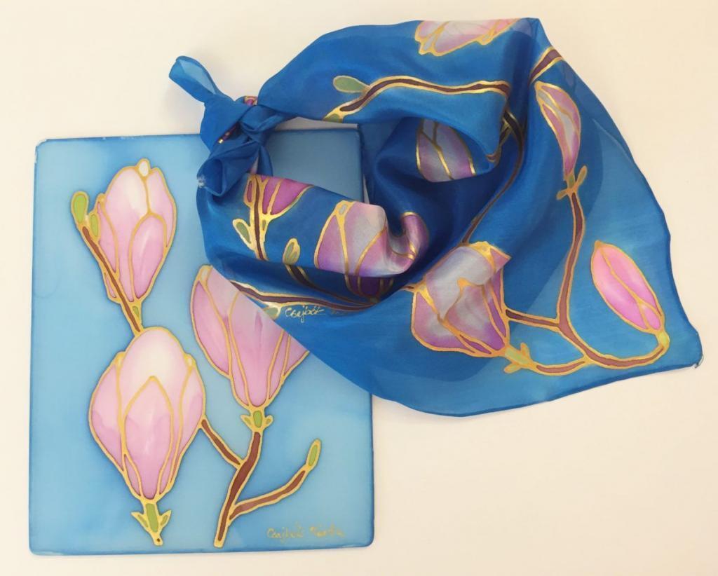 Magnóliás kép és kendő, kézzel festett selyem